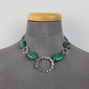 Silver Tone Natural Stone Green Beaded Necklace